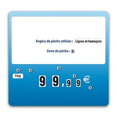 Etiquettes trad'etiq bleues poisson xl à roues sans pique - par 50 (photo)