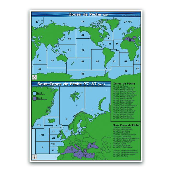 Panneau zones et sous-zones de pêche (fao) - par 3