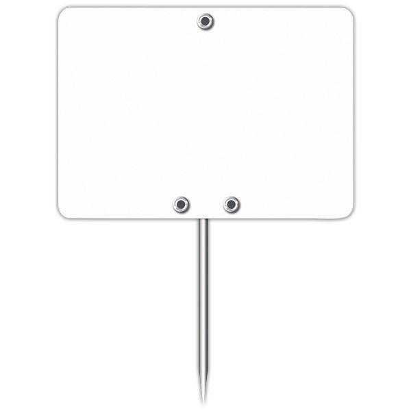 Etiquette blanche vierge avec pique inox 7 x 5 cm - par 30