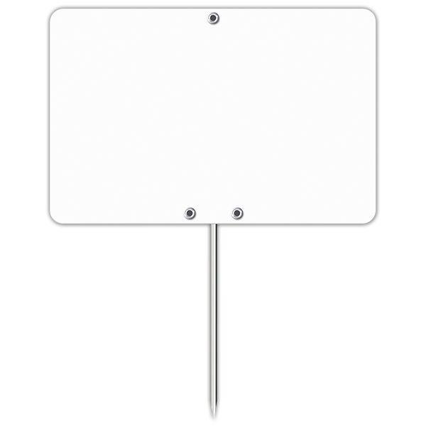 Etiquette blanche vierge avec pique inox 7 x 10 cm - par 30
