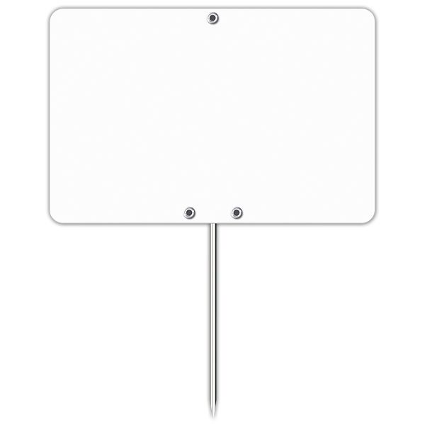 Etiquette blanche vierge avec pique inox 7 x 10 cm - par 50