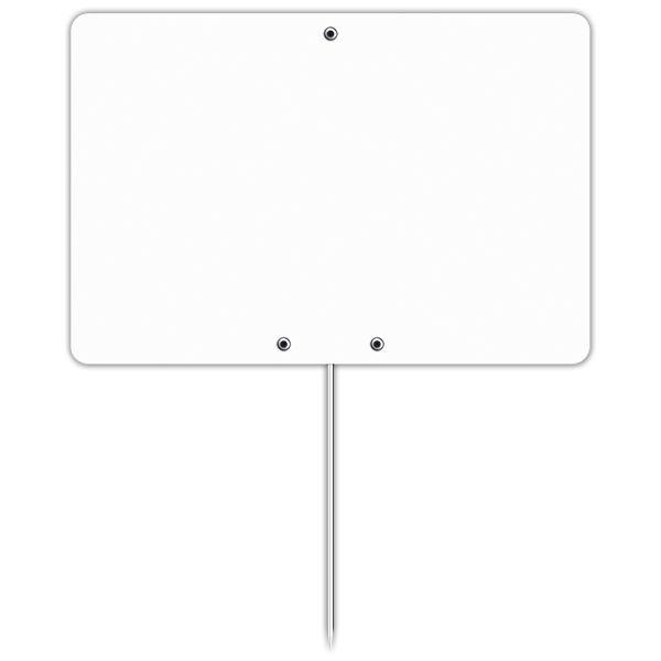 Etiquette blanche vierge avec pique inox 15 x 10 cm - par 30