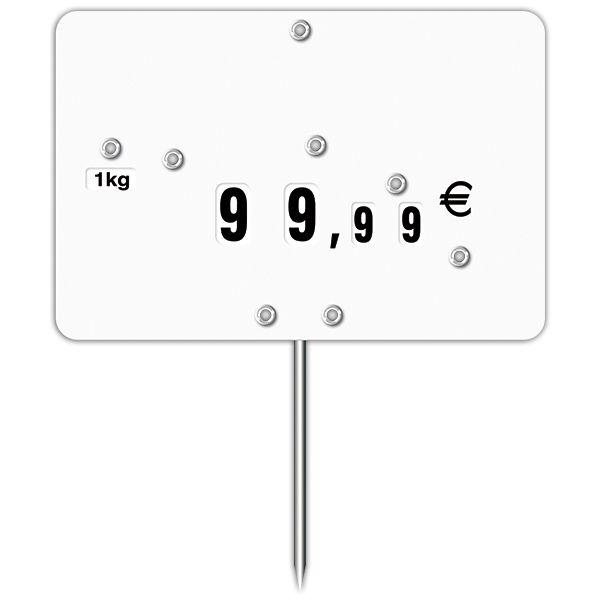 Etiquette blanche vierge à roues et à pique inox n° 1 - par 30 (photo)