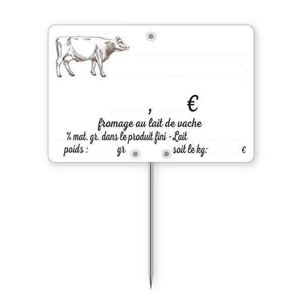 Etiquettes crémerie à pique lait vache 10 x 7 cm - par 30
