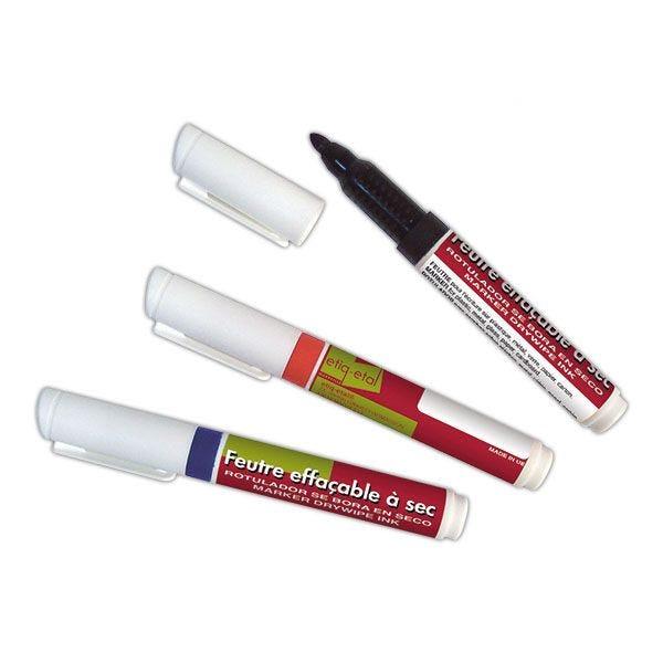 Feutre (rouge, noir, bleu) effaçable à sec - par 9 (photo)