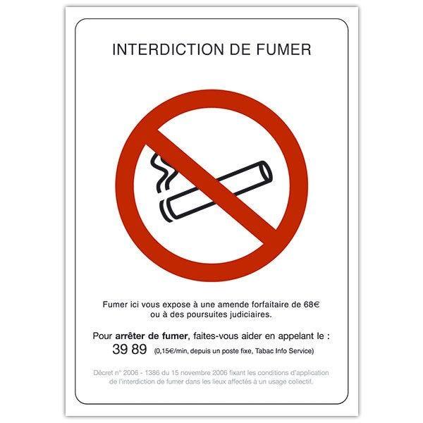 Pancarte rigide interdiction de fumer avec fil nylon 15 x 21 cm - par 5 (photo)