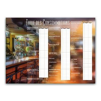 Tarif des consommations bar 60x44 cm (photo)