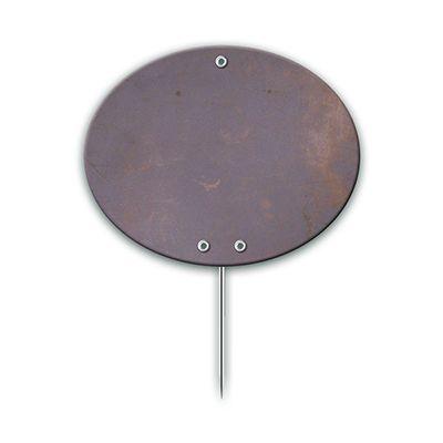Etiiquette ovales industrie impression métal à pique 6x7 cm - par 10 (photo)
