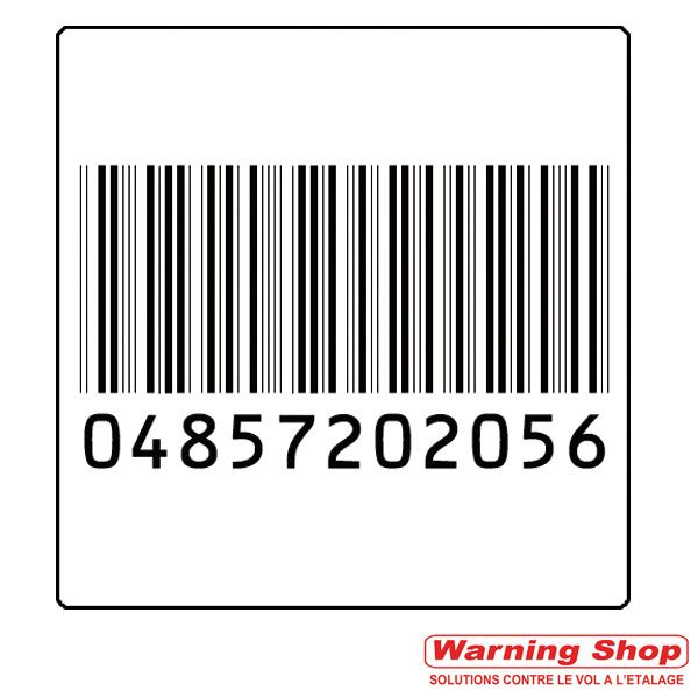 Antivol étiquette rf 40 x 40 mm faux code barre par 5000 unités (photo)
