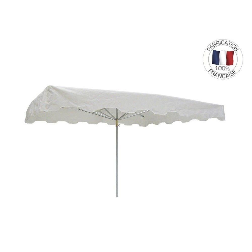 Parasol forain 350x250cm Blanc - armature télescopique + toile + housse