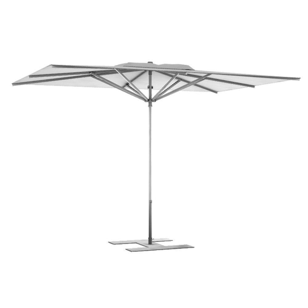 Parasol terrasse Prémium Blanc 3x2,50 m montant gris (photo)