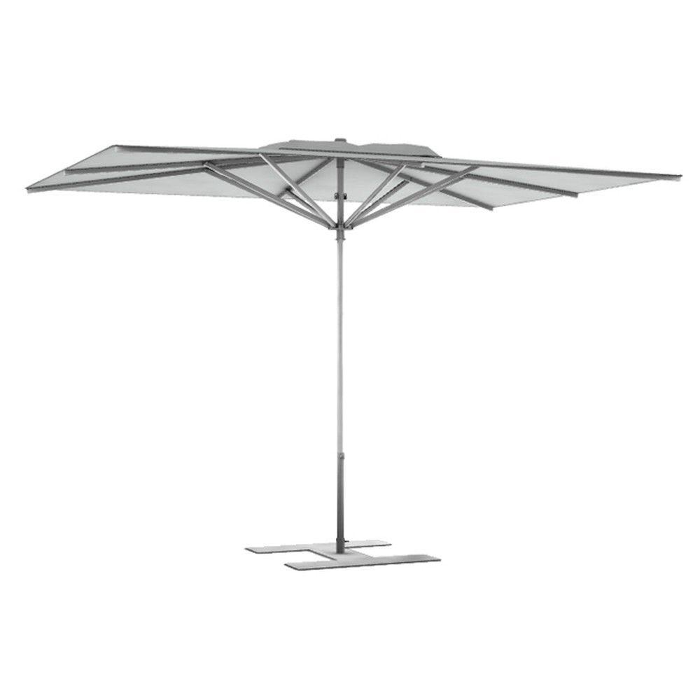 Parasol terrasse Prémium Blanc grisé 3x2,50 m montant gris (photo)