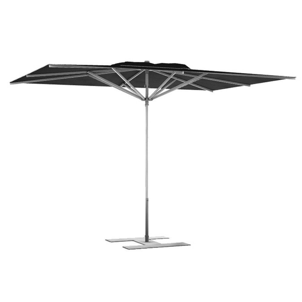 Parasol terrasse Prémium Noir 3x2,50 m montant gris (photo)