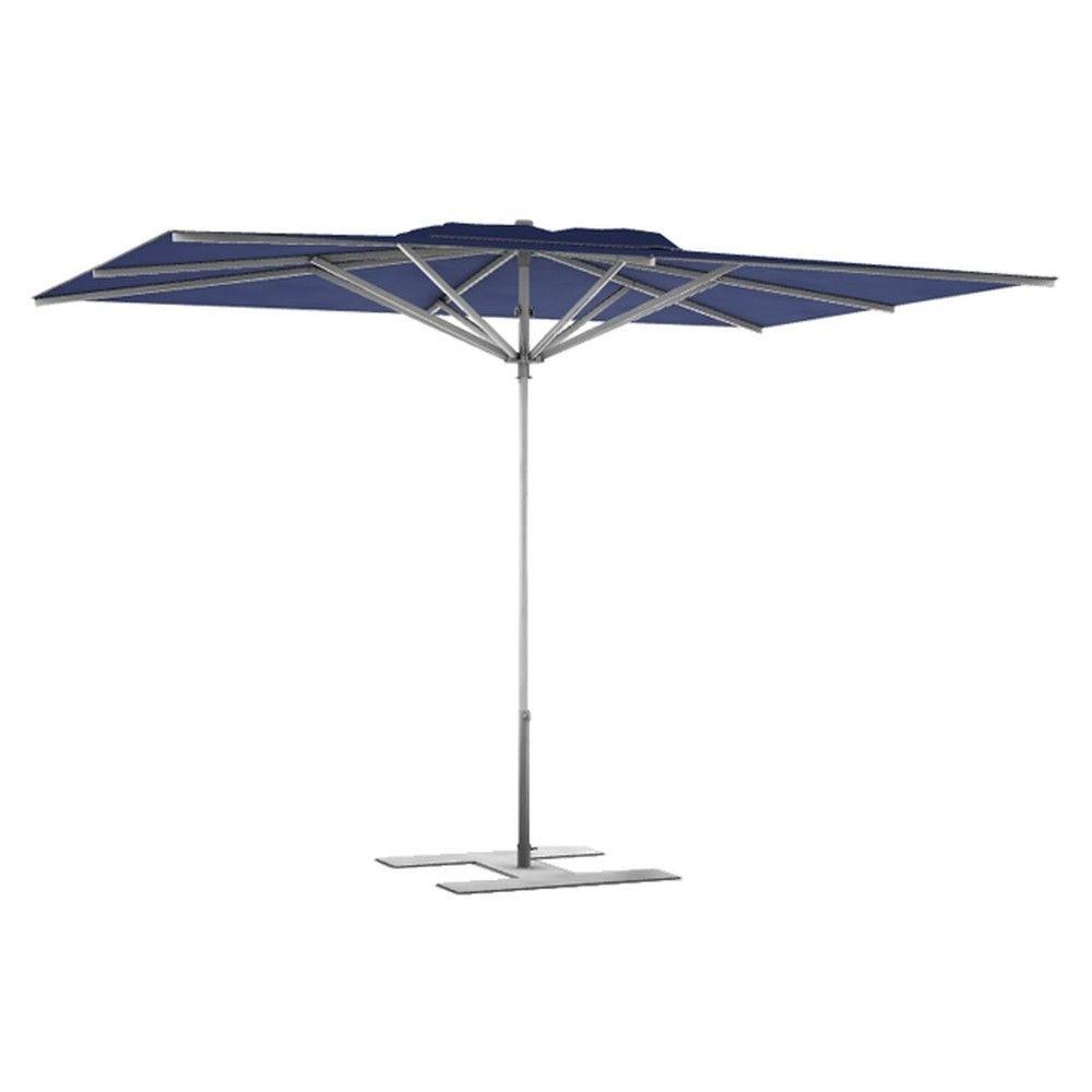 Parasol terrasse prémium bleu 3x3 m montant gris (photo)