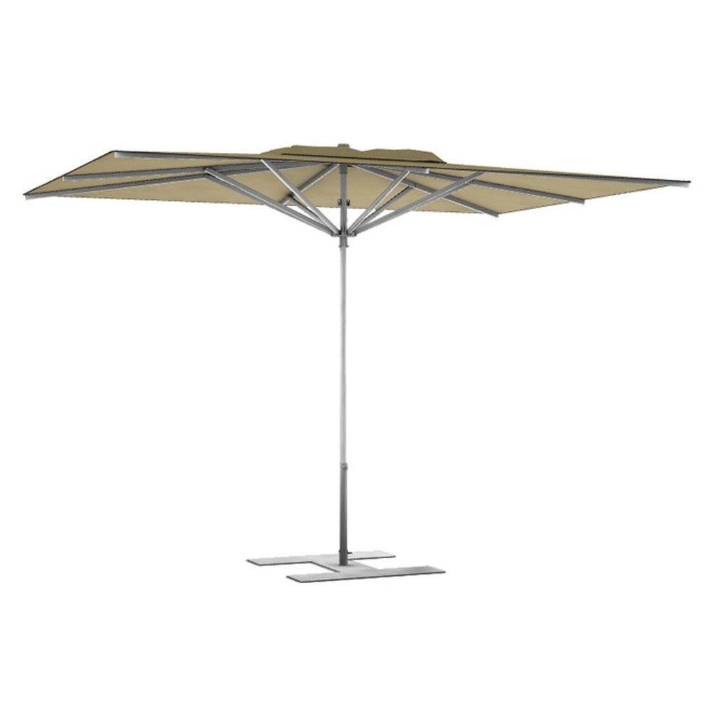 Parasol terrasse prémium havane 3x3 m montant gris (photo)