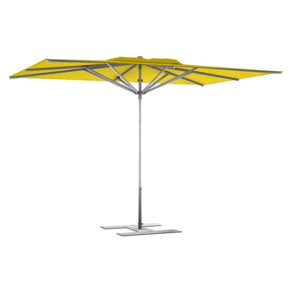 Parasol terrasse prémium jaune 3x3 m montant gris (photo)