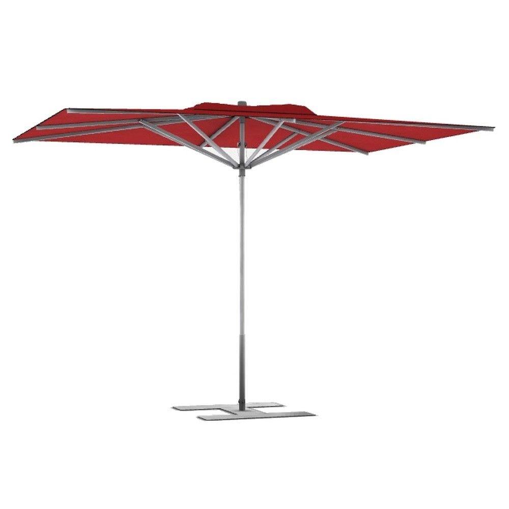 Parasol terrasse prémium rouge 3x3 m montant gris (photo)