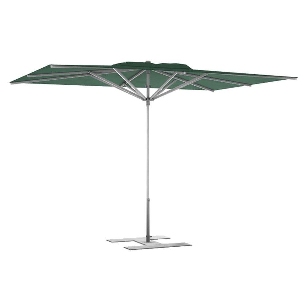 Parasol terrasse Prémium Vert 3x3 m montant gris (photo)