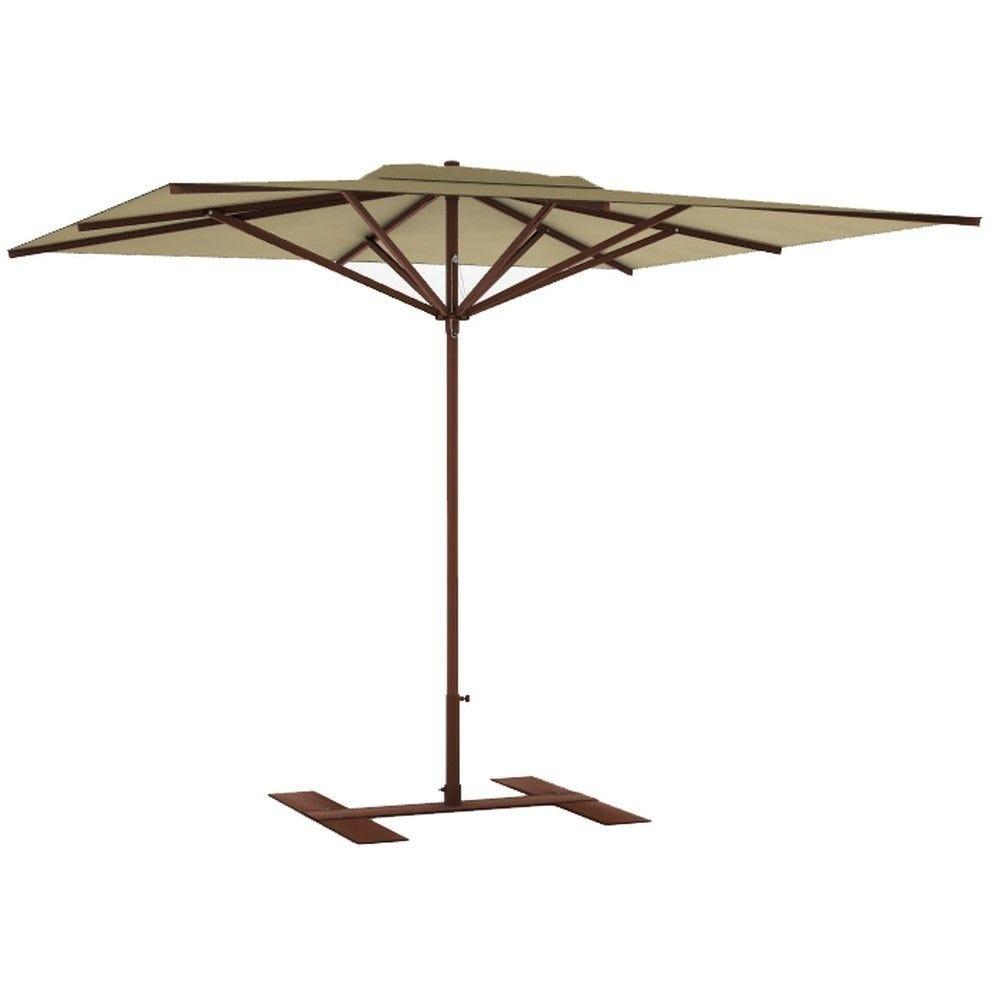 Parasol terrasse Privilège havane 3x3 m montant marron