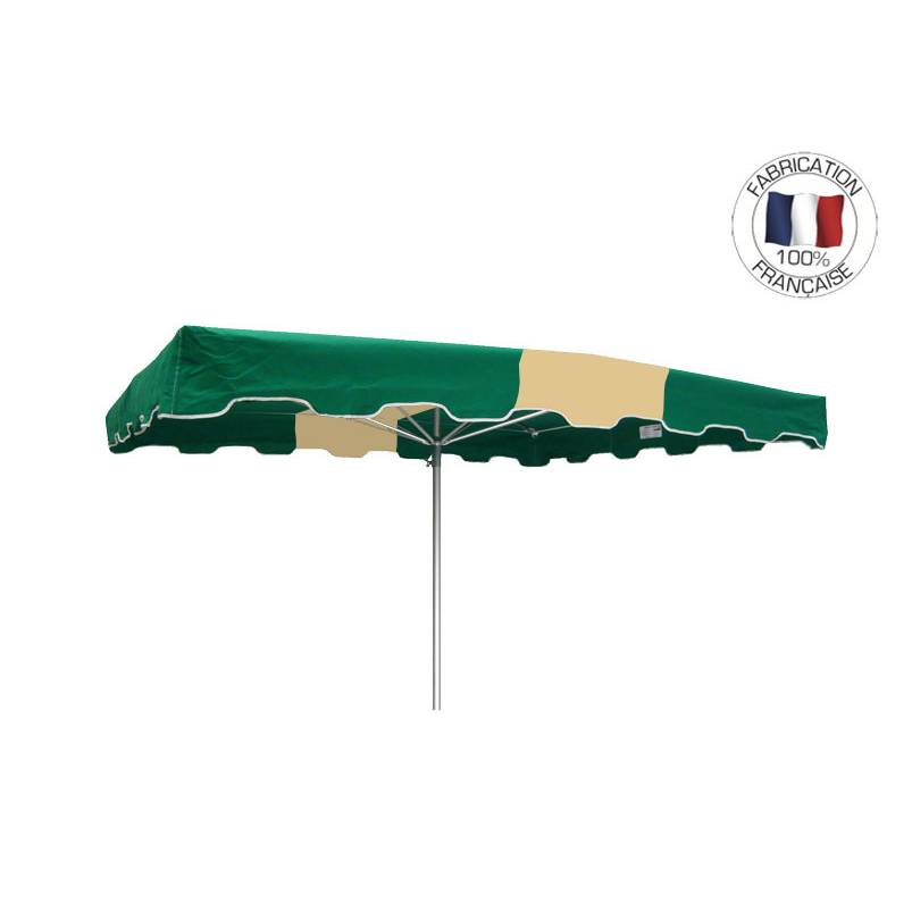 Parasol forain 300x300cm Vert-Ivoire-vert - armature télescopique+toile+housse