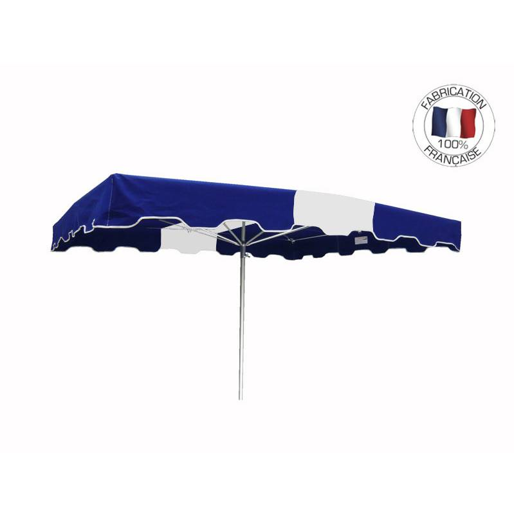 Parasol forain 300x300cm Bleu-Blanc-Bleu - armature télescopique+toile+housse