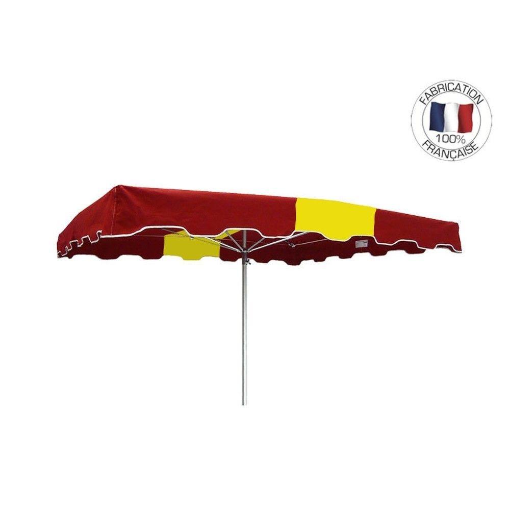 Parasol forain 300x300cm Rouge-Jaune-Rouge - armature télescopique+toile+housse