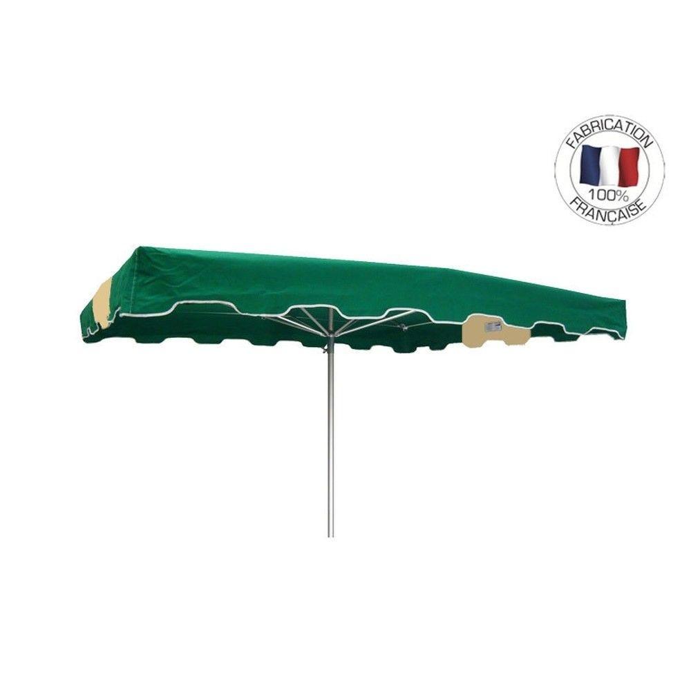 Parasol forain 350x250cm Vert-Ivoire-vert - armature télescopique+toile+housse