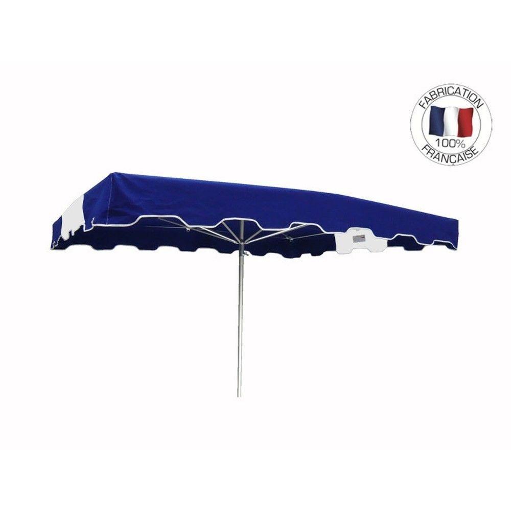 Parasol forain 350x250cm Bleu-Blanc-Bleu - armature télescopique+toile+housse
