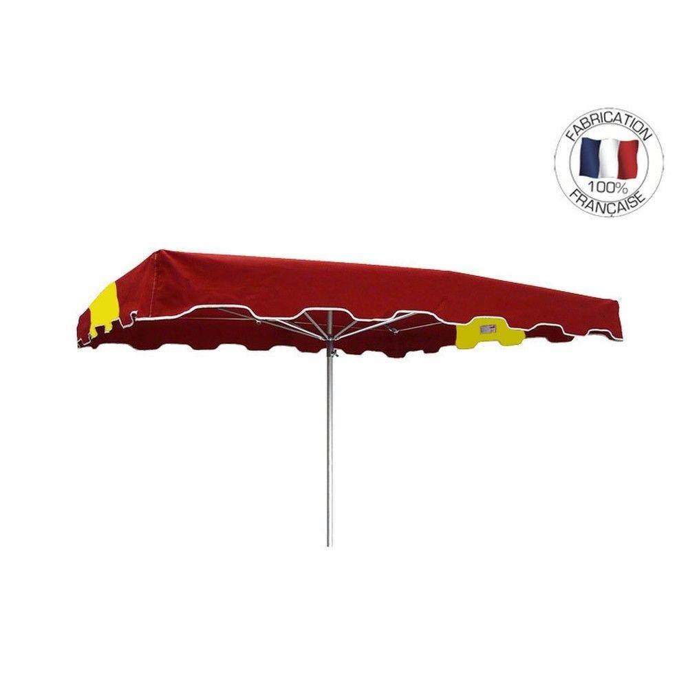 Parasol forain 400x300cm Rouge-Jaune-Rouge - armature télescopique+toile+housse