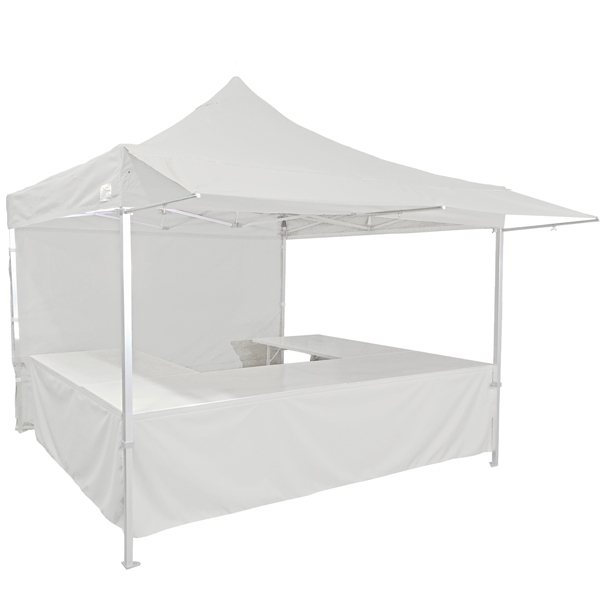 Stand tente pliante alu 300x300cm coloris blanc + 4 tables