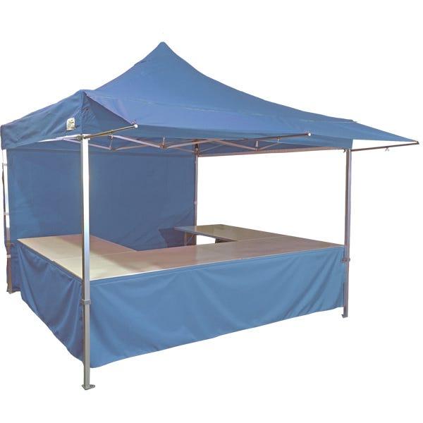 Stand tente pliante alu 300x300cm coloris bleu azur + 4 tables