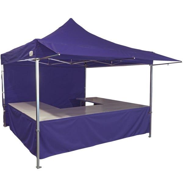 Stand tente pliante alu 300x300cm coloris bleu foncé + 4 tables