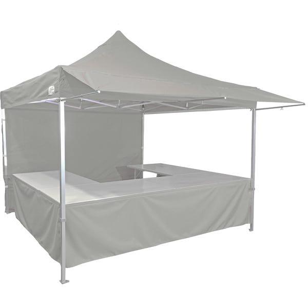 Stand tente pliante alu 300x300cm coloris gris clair + 4 tables