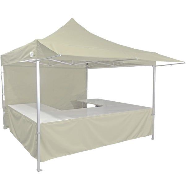 Stand tente pliante alu 300x300cm coloris ivoire + 4 tables