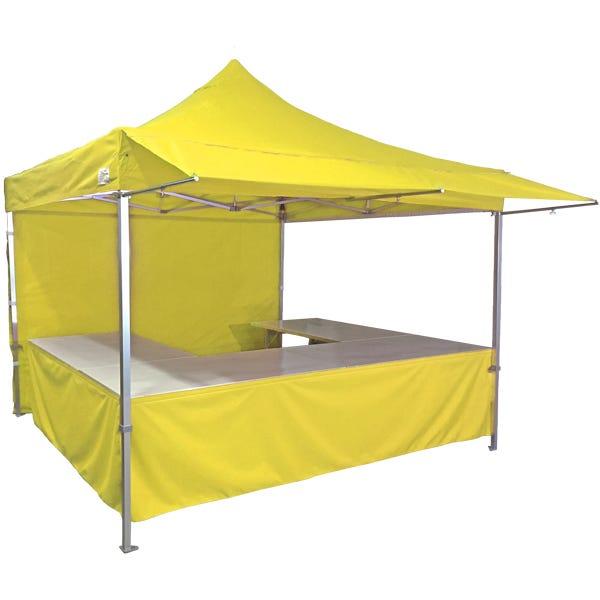 Stand tente pliante alu 300x300cm coloris jaune + 4 tables