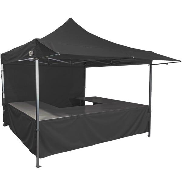 Stand tente pliante alu 300x300cm coloris noir + 4 tables