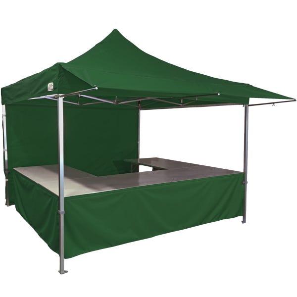 Stand tente pliante alu 300x300cm coloris vert foncé + 4 tables