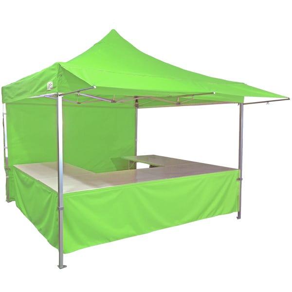 Stand tente pliante alu 300x300cm coloris vert pomme + 4 tables