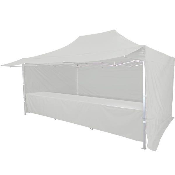 Stand tente pliante alu 300x450cm avec 3 murs, 3 tables + auvent coloris blanc