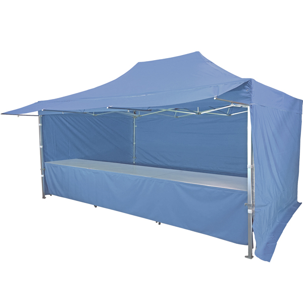 Stand tente pliante alu 300x450cm avec 3 murs, 3 tables + auvent - bleu azur