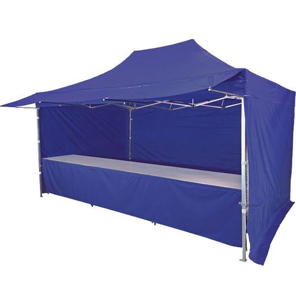Stand tente pliante alu 300x450cm avec 3 murs, 3 tables + auvent - bleu foncé