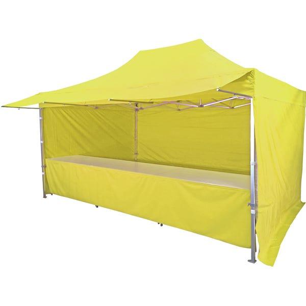 Stand tente pliante alu 300x450cm avec 3 murs, 3 tables + auvent - jaune