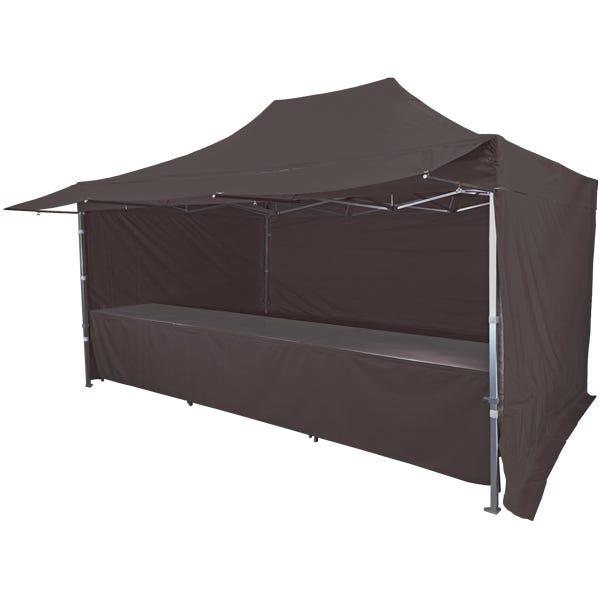 Stand tente pliante alu 300x450cm avec 3 murs, 3 tables + auvent - noir