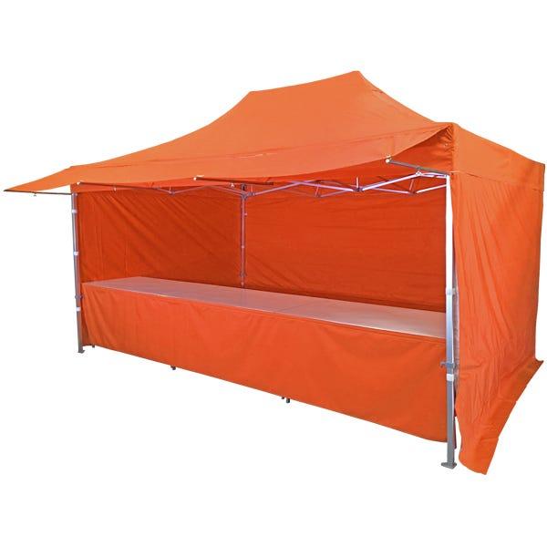 Stand tente pliante alu 300x450cm avec 3 murs, 3 tables + auvent - orange