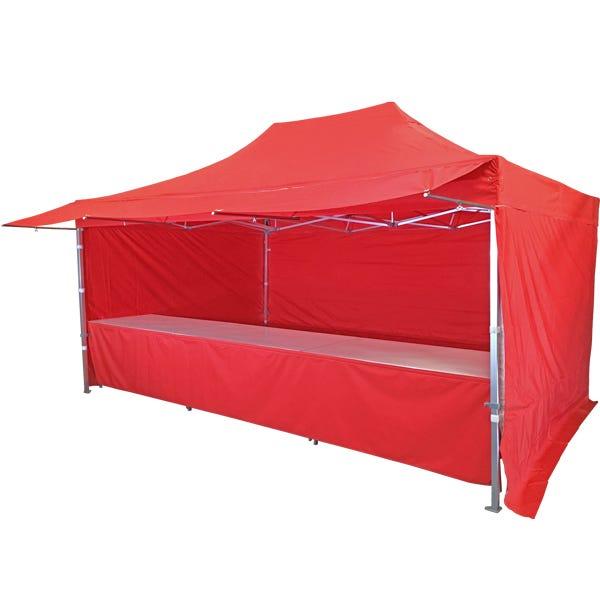 Stand tente pliante alu 300x450cm avec 3 murs, 3 tables + auvent - rouge vif