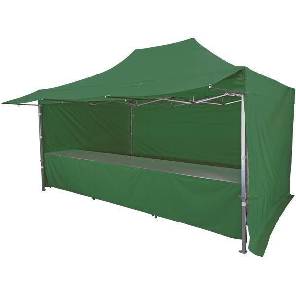 Stand tente pliante alu 300x450cm avec 3 murs, 3 tables + auvent - vert foncé