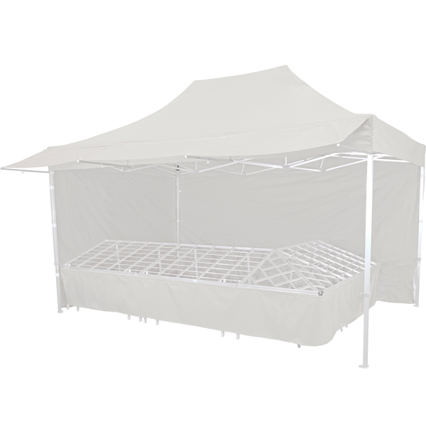 Stand tente pliante alu 300x450cm coloris blanc + 4 tables primeurs
