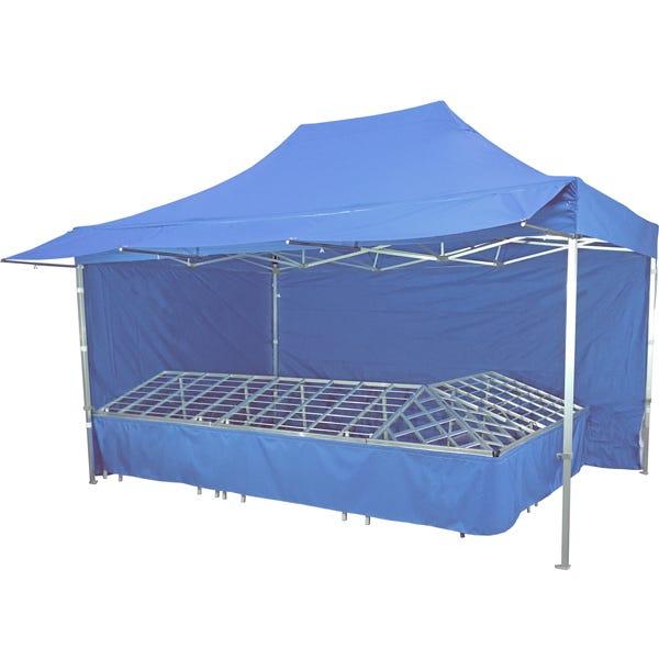 Stand tente pliante alu 300x450cm coloris bleu azur + 4 tables primeurs