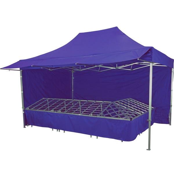 Stand tente pliante alu 300x450cm coloris bleu foncé + 4 tables primeurs