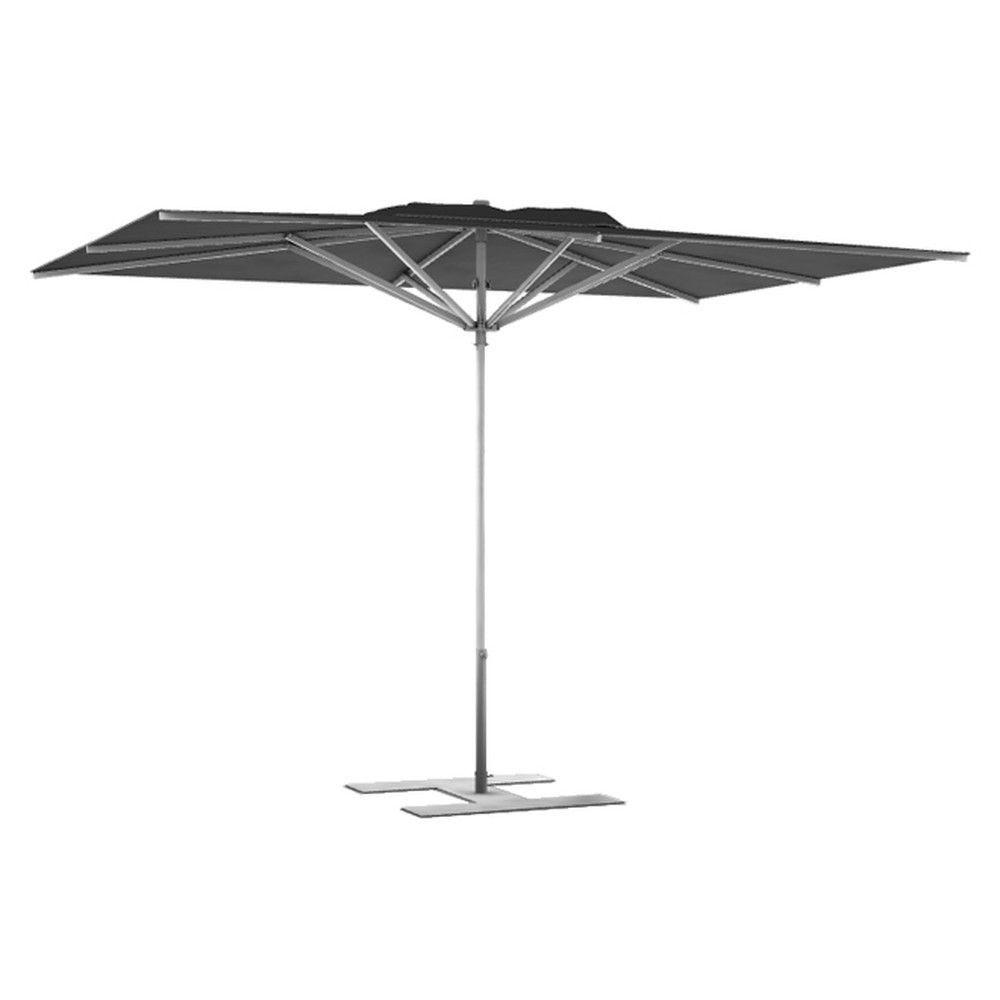 Parasol terrasse Prémium Anthracite 2,4x2,4 m montant gris